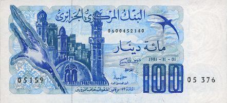 Banknoten Algérie. Banque Centrale. Billet. 100 dinars 1.11.1981