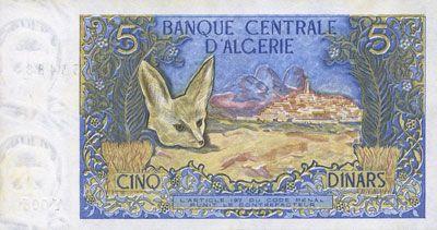 Banknoten Algérie. Banque Centrale. Billet. 5 dinars 1.11.1970