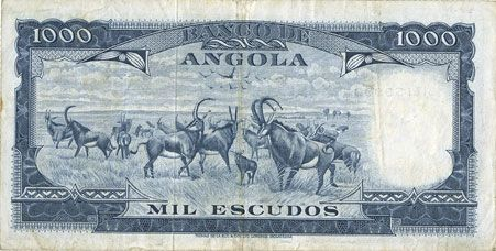Banknoten Angola. Banque d'Angola (Banco de Angola). Billet. 1 000 escudos 10.6.1970