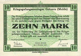 Banknoten Allemagne. Golzern. Kriegsgefangenenlager. Billet. 10 mark 1.2.1916, sans cachet