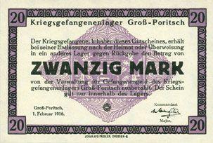Banknoten Allemagne. Gross-Poritsch. Kriegsgefangenenlager. Billet. 20 mark 1.2.1916