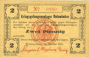 Banknoten Allemagne. Holzminden. Kriegsgefangenenlager. Billet. 2 pfennig octobre 1915