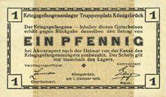 Banknoten Allemagne. Königsbrück. Kriegsgefangenenlager - Truppenplatz Königsbrück. Billet. 1 pf 1.10.1915
