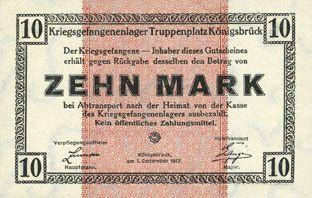 Banknoten Allemagne. Königsbrück. Kriegsgefangenenlager - Truppenplatz Königsbrück. Billet. 10 mark 1.12.1917