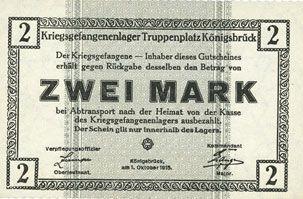 Banknoten Allemagne. Königsbrück. Kriegsgefangenenlager - Truppenplatz Königsbrück. Billet. 2 mark 1.10.1915