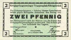 Banknoten Allemagne. Königsbrück. Kriegsgefangenenlager - Truppenplatz Königsbrück. Billet. 2 pf 1.10.1915