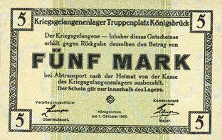 Banknoten Allemagne. Königsbrück. Kriegsgefangenenlager - Truppenplatz Königsbrück. Billet. 5 mark 1.10.1915
