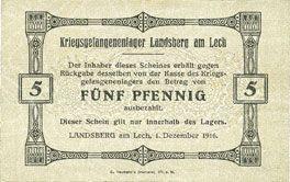 Banknoten Allemagne. Landsberg. Kriegsgefangenenlager. Billet. 5 pf 1.12.1916