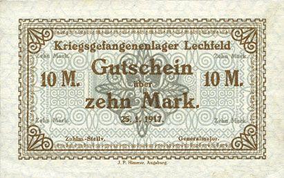 Banknoten Allemagne. Lechfeld. Kriegsgefangenenlager. Billet. 10 mark 25.1.1917