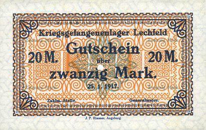 Banknoten Allemagne. Lechfeld. Kriegsgefangenenlager. Billet. 20 mark 25.1.1917
