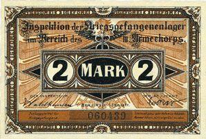 Banknoten Crossen. Inspektion der KGL im Bereich des XIII. Armeekorps. Billet. 2 mark 1.10.1917