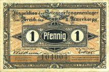 Banknoten Guben. Inspektion der KGL im Bereich des XIII. Armeekorps. Billet. 1 pf 1.10.1917