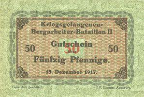 Banknoten Lieu d'émission inconnu. Kriegsgefangenen - Bergarbeiter-Bataillon III. Billets. 50 pf 15.12.1917