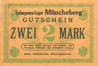 Banknoten Müncheberg. Gefangenenlager. Billet. 2 mark n. d., var. papier foncé
