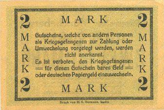 Banknoten Müncheberg. Gefangenenlager. Billet. 2 mark n. d.