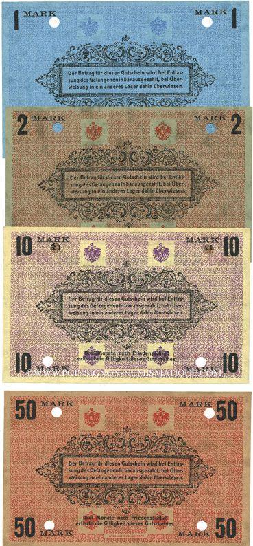 Banknoten Plassenburg. Offizier- Gefangenenlager. Billets. 1 mk, 2 mk, 10 mk, 50 mk annulation par perforation