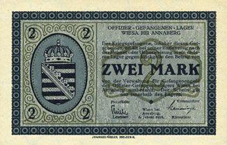 Banknoten Wiesa bei Annaberg. Offizier- Gefangenenlager. Billet. 2 mark 1.1.1916