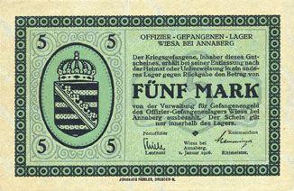 Banknoten Wiesa bei Annaberg. Offizier- Gefangenenlager. Billet. 5 mark 1.1.1916