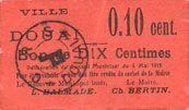 Banknoten Douai (59). Ville. Billet. 10 centimes 6.5.1915, papier rouge