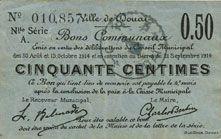 Banknoten Douai (59). Ville. Billet. 50 centimes 30.8 et 15.10.1914, nlle série, A