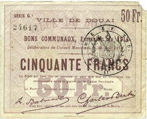 Banknoten Douai (59). Ville. Billet. 50 francs 30.8.1914, série G1