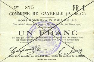 Banknoten Gavrelle (62). Commune. Billet. 1 franc 20.3.1915