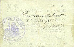 Banknoten Gavrelle (62). Commune. Billet. 2 francs 20.3.1915
