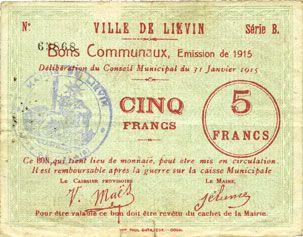 Banknoten Liévin (62). Ville. Billet. 5 francs 31.1.1915, série B