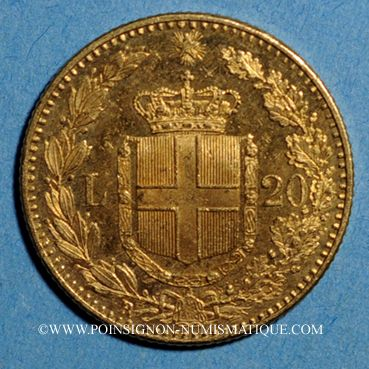 Münzen Italie. Umberto I (1878-1900). 20 lires 1891 R oro rosso. Rome . (PTL 900‰. 6,45 g)