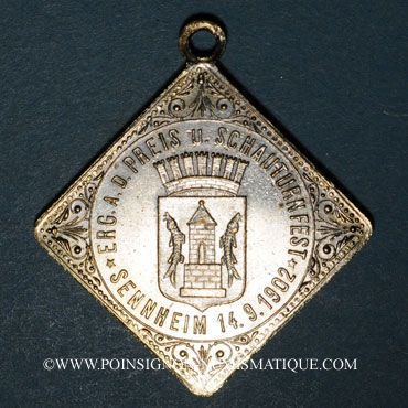 Münzen Alsace. Cernay. Tournoi de gymnastique. 1902. Médaille laiton argenté
