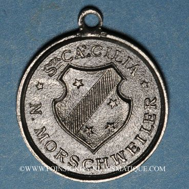Münzen Alsace. Morschwiller le Bas. Chorale Ste Caecilia Consécration drapeau. 1893. Médaille étain