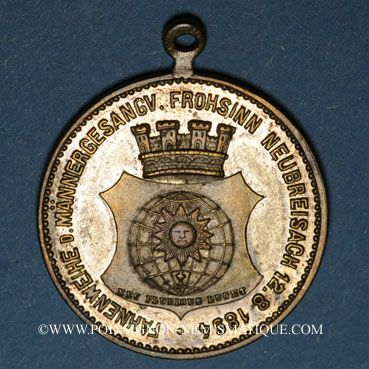 Münzen Neuf-Brisach. Bénédiction du drapeau du cercle masculin des chanteurs «Frohsinn». 1894. Médaille