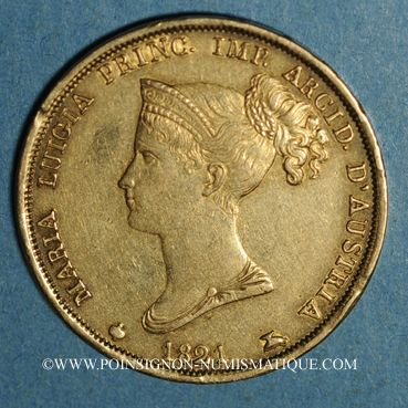 Münzen Italie. Duché de Parme. Marie Louise (1815-1847). 40 lires 1821. Milan (PTL 900‰. 12,90 g)