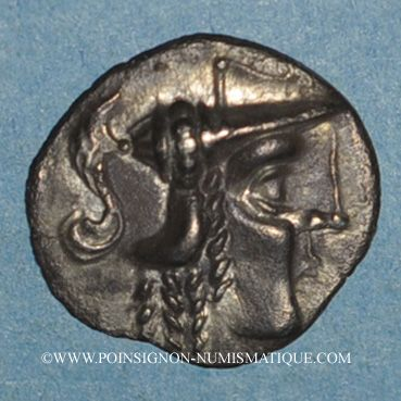 Münzen Aulerques Cénomans. Minimi d'argent à la tête de Pallas, vers 80-50 av. J-C