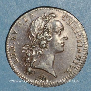 Münzen Paris. Trésor royal. Louis XV. Jeton cuivre 1750