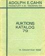 Antiquarischen buchern Cahn A., Francfort. Vente aux enchères n° 79, du 14.12.1932.