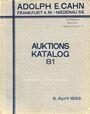 Antiquarischen buchern Cahn A., Francfort, vente aux enchères n° 81, du 05.04.1933