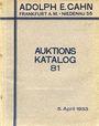 Antiquarischen buchern Cahn A., Francfort. Vente aux enchères n° 81, du 05.04.1933