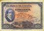 Banknoten Espagne. Banque d'Espagne. Billet. 50 pesetas 17.5.1927