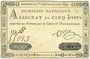 Banknoten Assignat. 5 livres. 27 juin 1792. Signature : Corsel