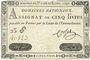 Banknoten Assignat. 5 livres. 31 juillet 1792. Signature : Corsel