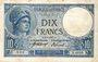 Banknoten Banque de France. Billet. 10 francs Minerve, 27.9.1917