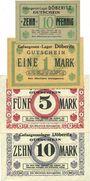 Banknoten Allemagne. Döberitz. Gefangenenlager. Billets. 10 pf, 1 mk, 5 mk, 10 mk n.d.