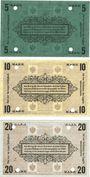 Banknoten Plassenburg. Offizier- Gefangenenlager. Billets. 5 mk série E, 10 mk série B, 20 mk série E