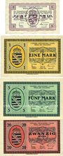 Banknoten Wiesa bei Annaberg. Offizier- Gefangenenlager. Billets. 5 pf, 1 mark, 5 mark , 20 mark 1.1.1916