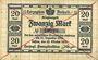 Banknoten Anhalt. Herzogliche F. D. Billet. 20 mark 29.10.1918, Annulation par traits en diagonal