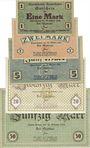 Banknoten Baden-Baden. Stadt. Billets. 1, 2, 5, 20, 50 mark du 22.10.1918