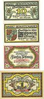 Banknoten Berchtesgaden. Marktgemeinde. Billets. 10 pf, 20 pf, 50 pf, 1 mark 13.8.1920