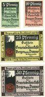 Banknoten Bergen a. d. Dumme. Gemeinde. Série de 4 billets. 5, 10, 25, 50 pf n.d. - 31.12.1922