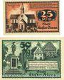 Banknoten Kloster Zinna. Stadt. Série de 2 billets. 25 pf, 50 pf 7.9.1920